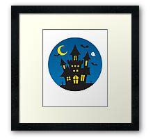 Kids Cute Halloween Ghost Haunted House Graphic Cute Framed Print