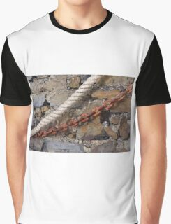 Rope and metal chain on grungy stone wall. Graphic T-Shirt