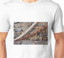 Rope and metal chain on grungy stone wall. Unisex T-Shirt