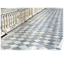 Checkered floor with baluster handrail. Poster