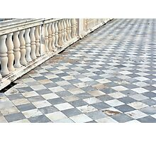 Checkered floor with baluster handrail. Photographic Print