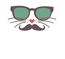 Funny Cat Mustache Quote Saying Graphic Novelty  Photographic Print
