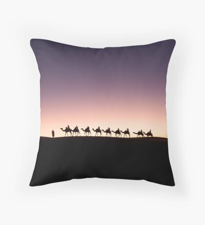 Camels by Dawn Throw Pillow