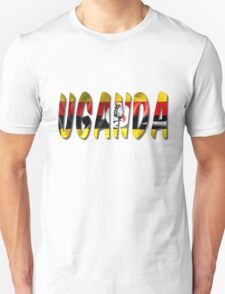 Uganda Word With Flag Texture Unisex T-Shirt