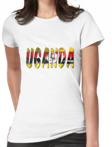 Uganda Word With Flag Texture Womens Fitted T-Shirt