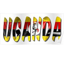 Uganda Word With Flag Texture Poster