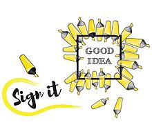 good idea inscription in the black box surrounded by yellow background Photographic Print