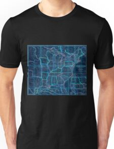 0016 Railroad Maps A new map of the United States Upon which are delineated its vast works of internal communication routes across the continent c showing also Canada and Inverted Unisex T-Shirt