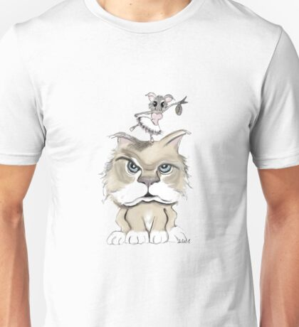 Mad cat with a playful mouse Unisex T-Shirt