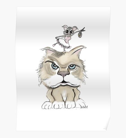 Mad cat with a playful mouse Poster