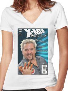 Guy Fieri/ Wolverine Mash up Women's Fitted V-Neck T-Shirt
