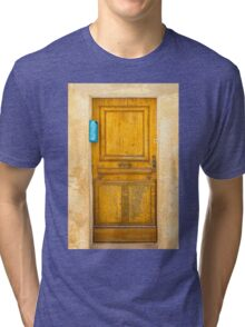 Vintage Door with blue post box in Saint Tropez, France Tri-blend T-Shirt