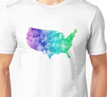 USA map in watercolor cold  Unisex T-Shirt