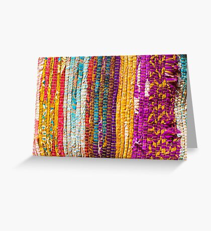 Greek carpet - Colorful striped bright cotton texture Greeting Card