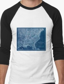 0326 Railroad Maps Map showing the Norfolk Western Railroad and its Inverted Men's Baseball ¾ T-Shirt