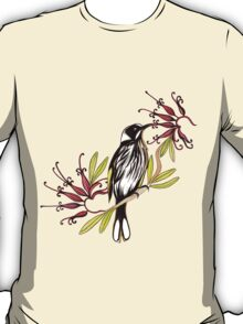 Honeyeater bird with grevillea flowers T-Shirt