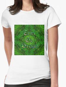 Erin Go Bragh Celtic Foliage Cross Womens Fitted T-Shirt
