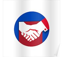 Business Deal Handshake Circle Retro Poster