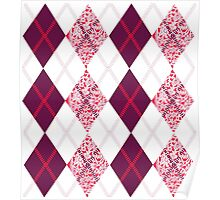 Cherry Lace & Classic Burgundy Argyle Pattern Poster