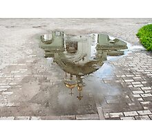 church reflected in a puddle Photographic Print