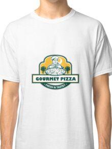 Gourmet Pizza Chef Palmetto Trees Shield Retro Classic T-Shirt