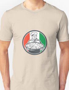 Italian Chef Cook Serving Pizza Circle Retro Unisex T-Shirt