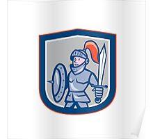 Knight Shield Sword Shield Cartoon Poster