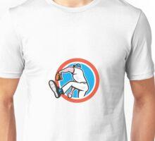 Baseball Pitcher Throwing Ball Circle Cartoon Unisex T-Shirt