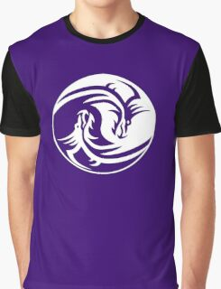 Yin Yang, Dragon, Doctormo, Dring, Drang, Eastern, WHITE on Deep Purple Graphic T-Shirt