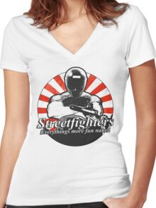 Streetfighters,  Everythings More Fun Naked Women's Fitted V-Neck T-Shirt