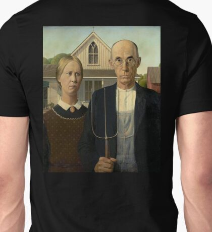 American Gothic, American, Gothic, Painting by, Grant Wood, Art Institute of Chicago. on BLACK Unisex T-Shirt