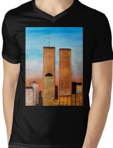 New York City Twin towers Mens V-Neck T-Shirt