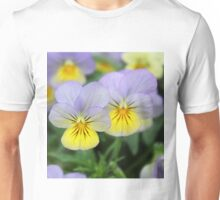 Yellow Purple Pansy Flower Unisex T-Shirt