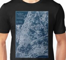 0293 Railroad Maps Map of New York City Brooklyn and vicinity shewing sic suburban lines of Long Island Railroad and its Inverted Unisex T-Shirt