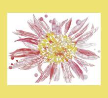 Pink Mixed Media Flower One Piece - Short Sleeve