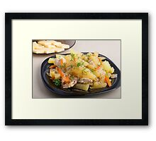 Dish of stewed potatoes with meat and spices Framed Print