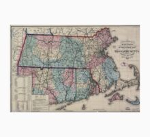 0130 Railroad Maps Rail road township map of Massachusetts published at the Boston Map Store Kids Tee
