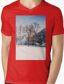 Trees By The Winter Lake Mens V-Neck T-Shirt