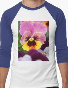 Colorful Pink and Yellow Pansy Flower Men's Baseball ¾ T-Shirt