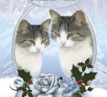 Two Christmas Cat's With Snow Ice And Blue Roses With Holly  by Moonlake