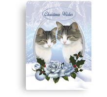 Two Christmas Cat's With Snow Ice And Blue Roses With Holly  Canvas Print