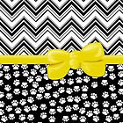 Ribbon, Bow, Dog Paws, Zigzag - White Black Yellow by sitnica