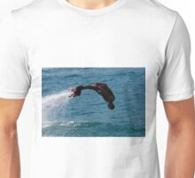 Flyboarder in silhouette diving headfirst into water Unisex T-Shirt