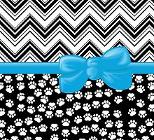 Ribbon, Bow, Dog Paws, Zigzag - White Black Blue by sitnica