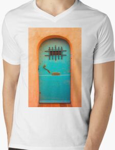 Vintage blue door Mens V-Neck T-Shirt