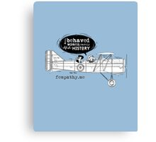 Retro lady in biplane, vintage blue airplane Canvas Print