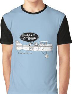 Retro lady in biplane, vintage blue airplane Graphic T-Shirt