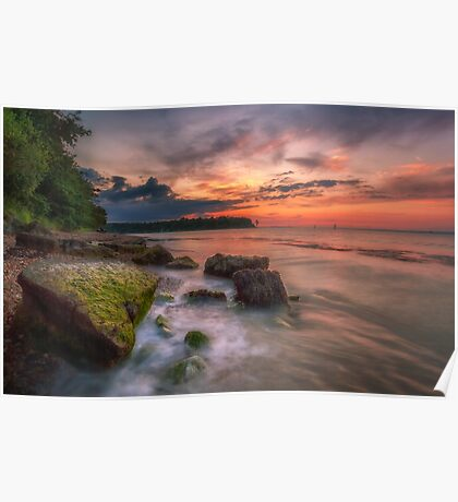Rocky Beach Sunset Poster