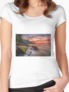 Rocky Beach Sunset Women's Fitted Scoop T-Shirt