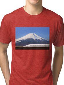 Mount Fuji and Tokaido Shinkansen, Shizuoka, Japan Tri-blend T-Shirt